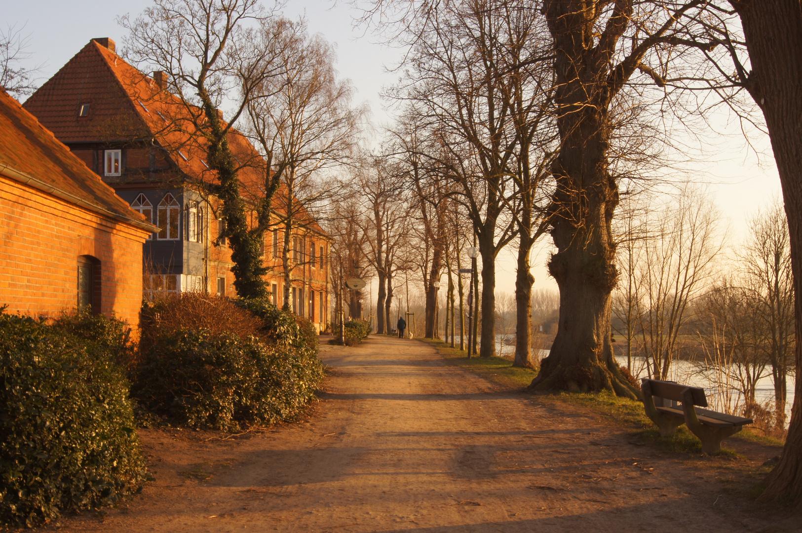 Weg an der Weser bei Nienburg