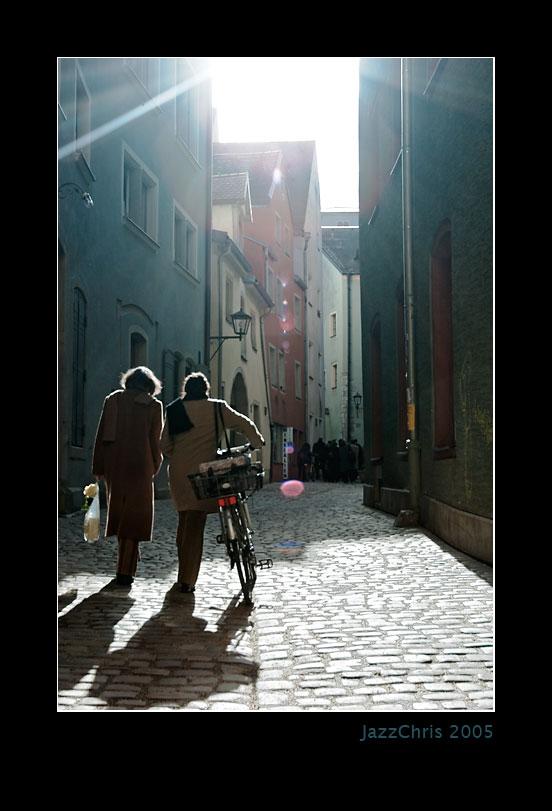 Weg Durch Die Altstadt Von Regensburg
