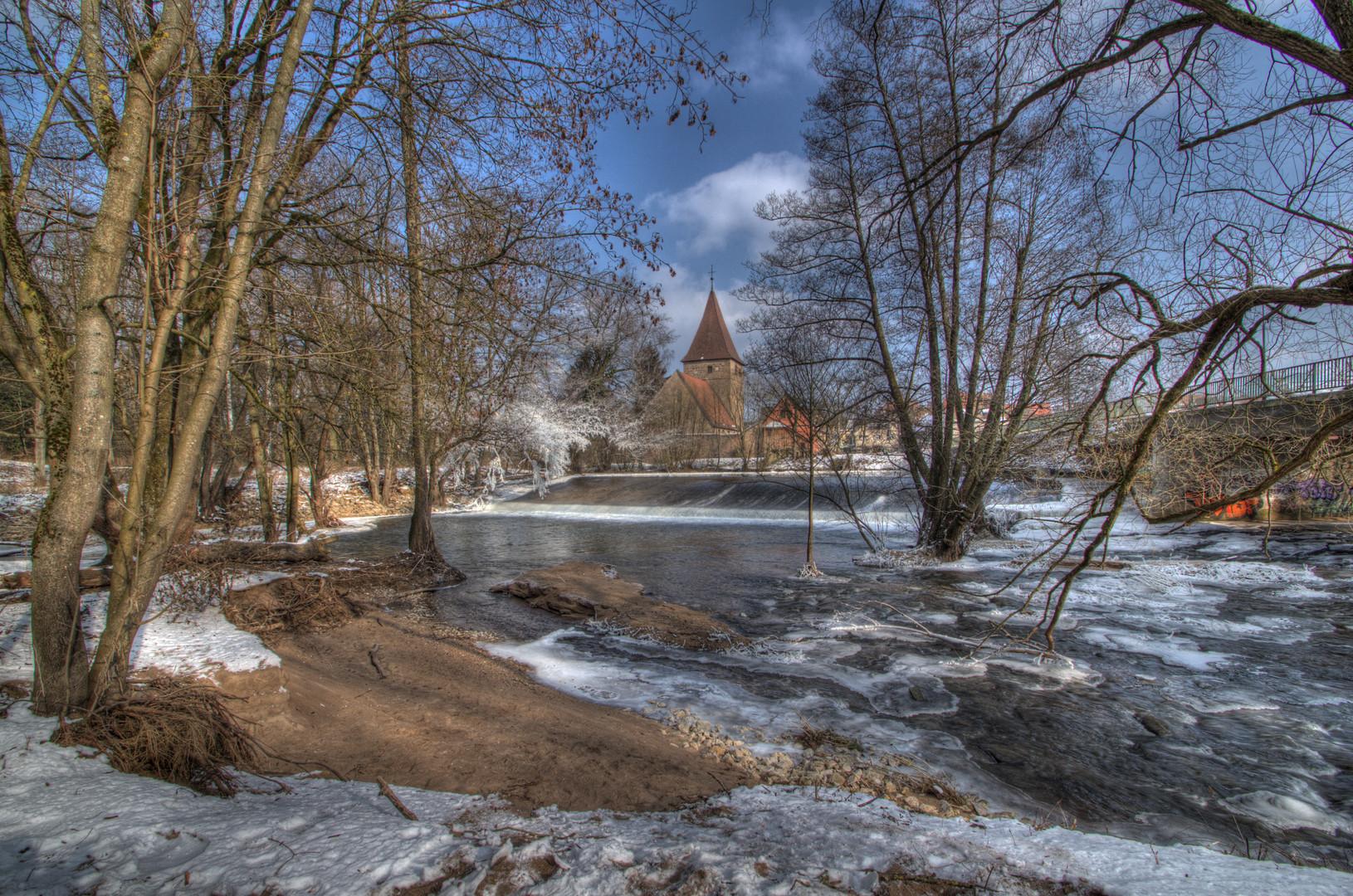 Wehrkirche Katzwang Winterimpressionen 2012 (8) HDR