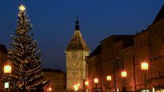 Weihnachtsbaum mit Ledererturm