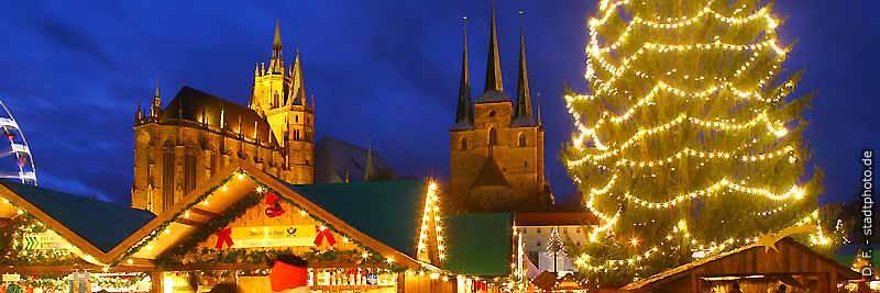 Weihnachtsmarkt Erfuft mit Dom und Severikirche