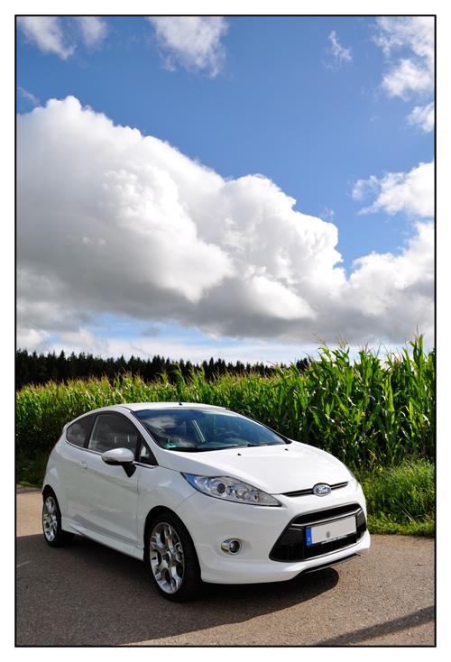 Weißer Ford Fiesta