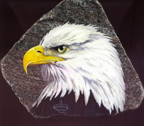 Weißkopfseeadler auf Stein gemalt