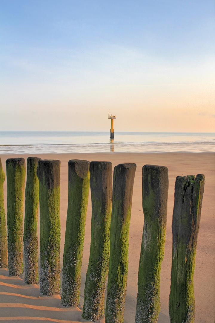 Wellenbrecher am Strand von Cadzand