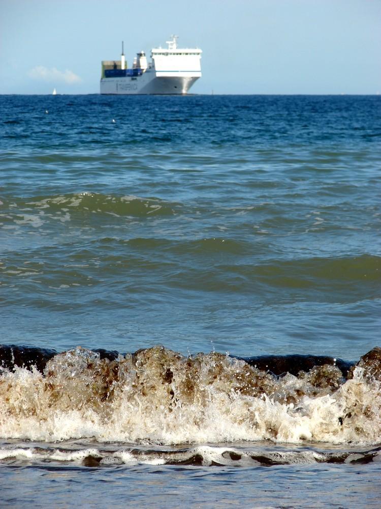 Wellengang am Strand von Travemünde