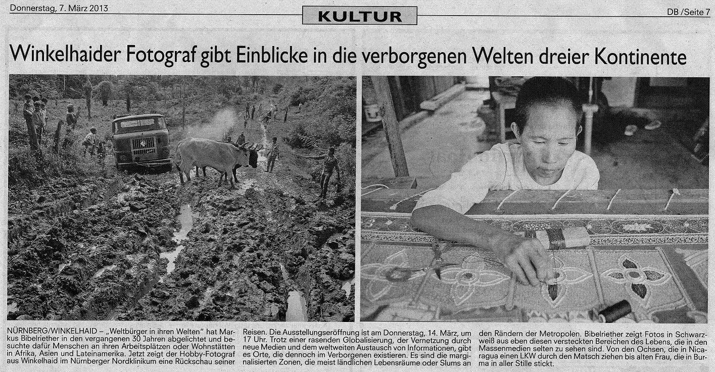 """""""Weltbürger in ihren Welten"""" in der Tageszeitung bis 2.8.13 zu sehen!"""