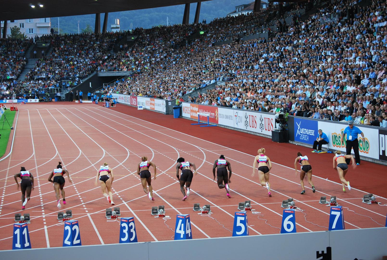 Weltklasse Zürich 2013 - 100 m Frauen - ....... und los geht's