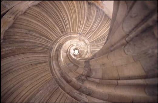Wendeltreppe von unten
