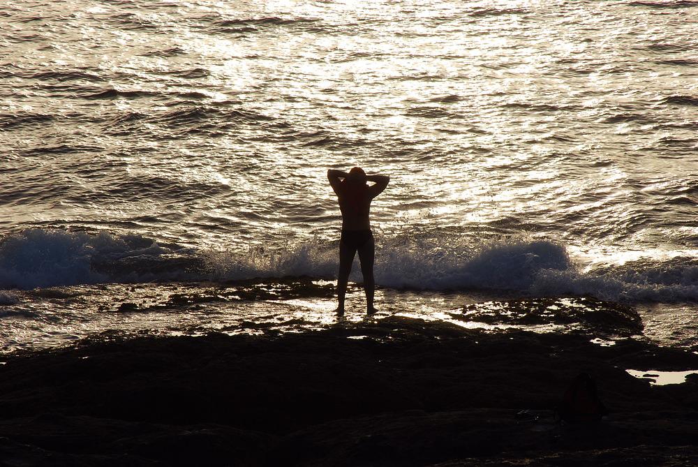 wenn die Sonne im Meer versinkt