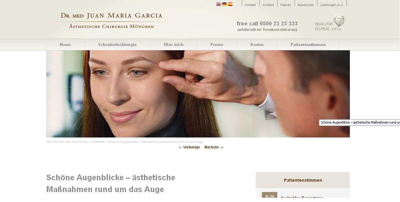 Werbung für Plastisch Ästhetische Chirurgie, Dr. med. Garcia, München