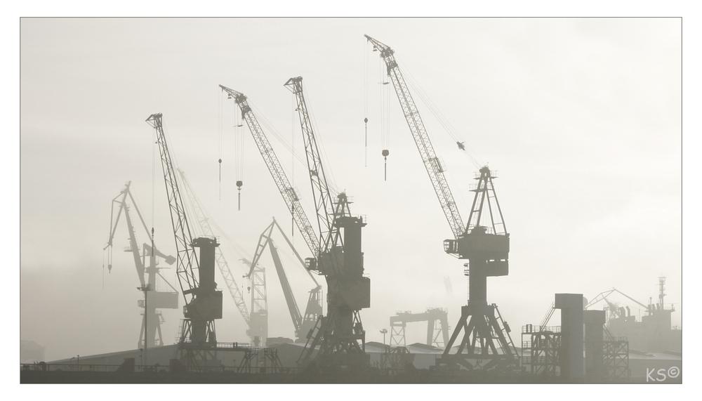 Werft im Nebel