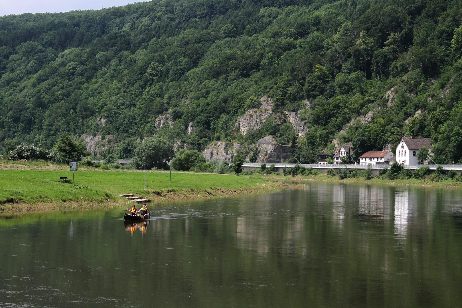 Weseraufwärts ... Steinmühle in Sicht
