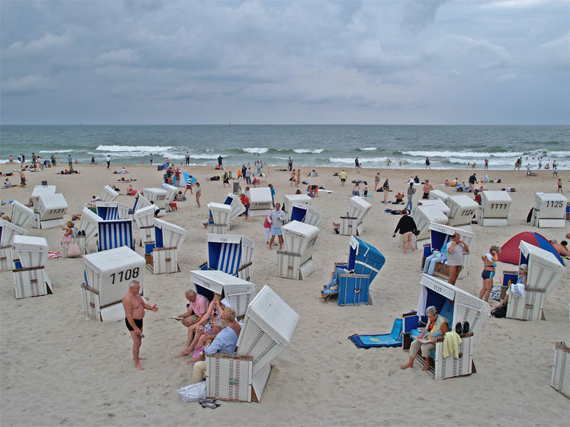 Westerland beach life on a cloudy day