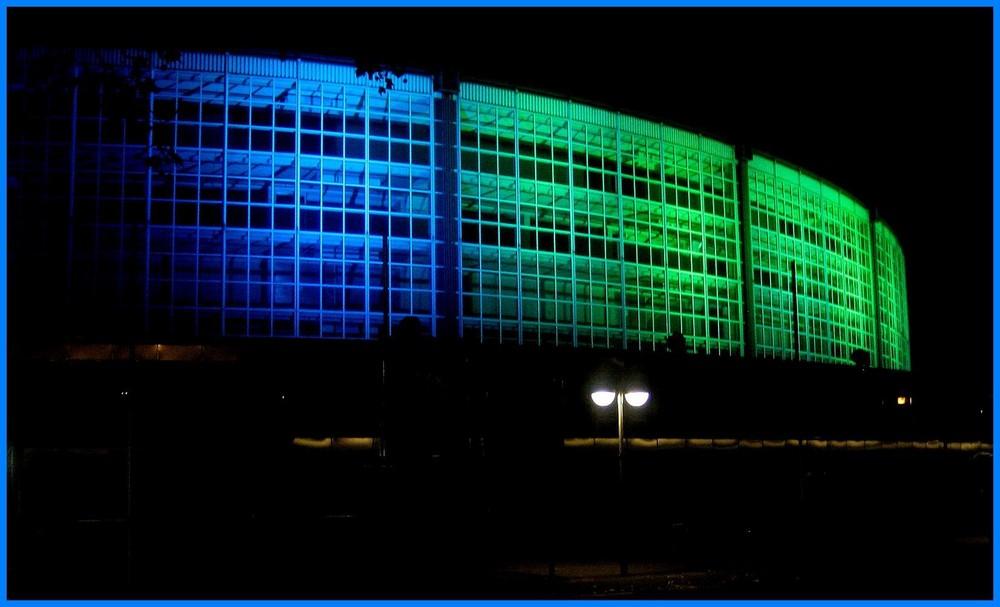 Westfalenhallen Dortmund bei Nacht