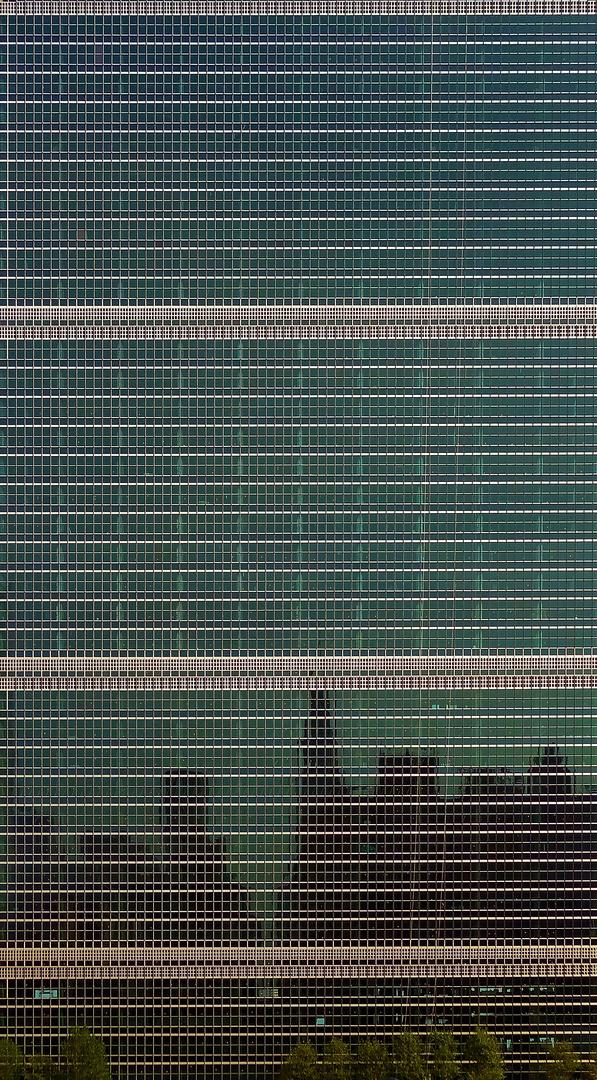 westfront des UN-gebäudes mit etwas grünzeug