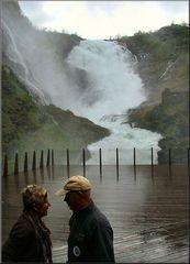 Wet love  at Kjosfoss waterfall.
