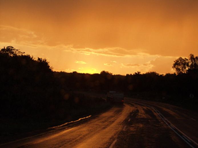 wet sunset