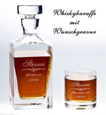 Whiskykaraffe aus Kristallglas mit Gravur