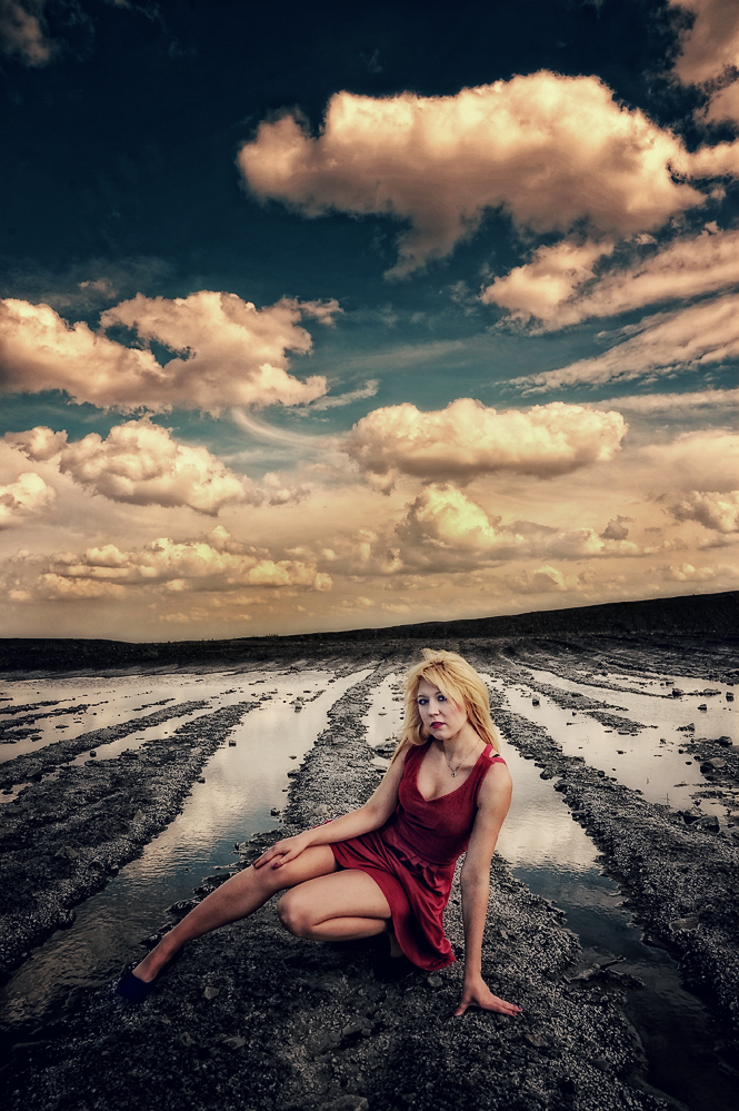white clouds red dress