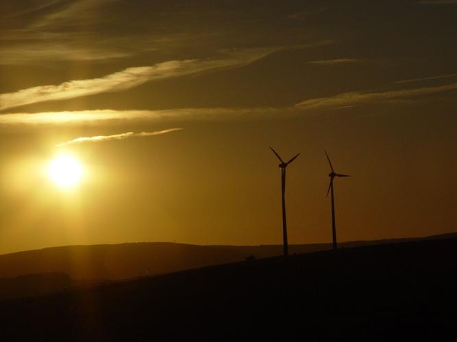 Windkraft in der Abendsonne