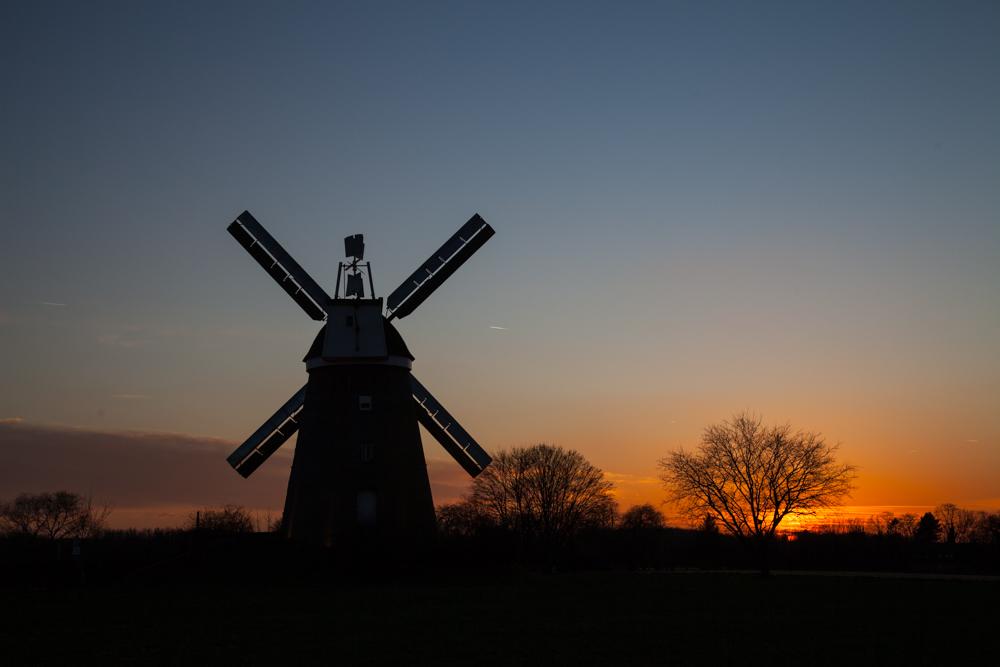 Windmühle Breberen im  Sonnenuntergang