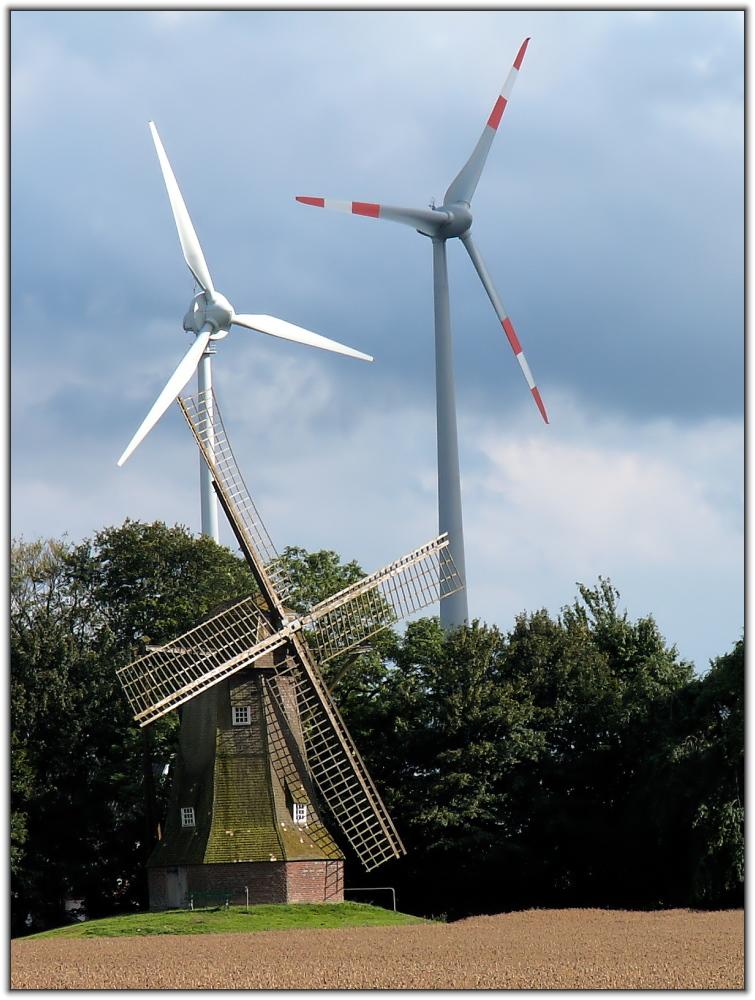 Windmühle vs. Windräder