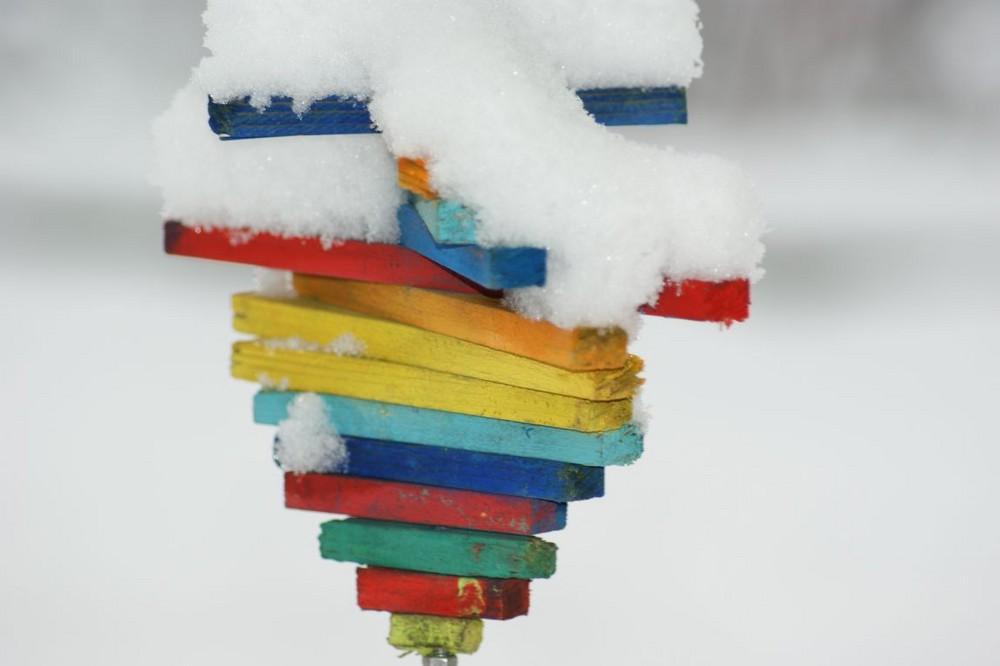 Windspiel im Schnee