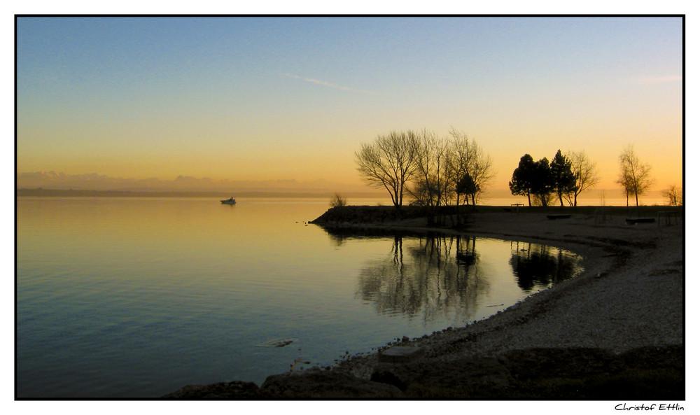 Winter Abendsonne in Neuchatel