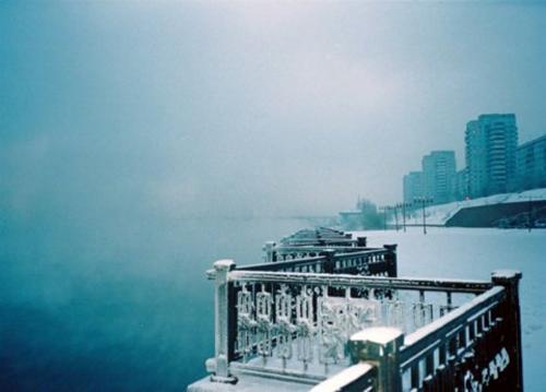 Winter along the River Yenisei,Krasnoyarsk,Siberia.