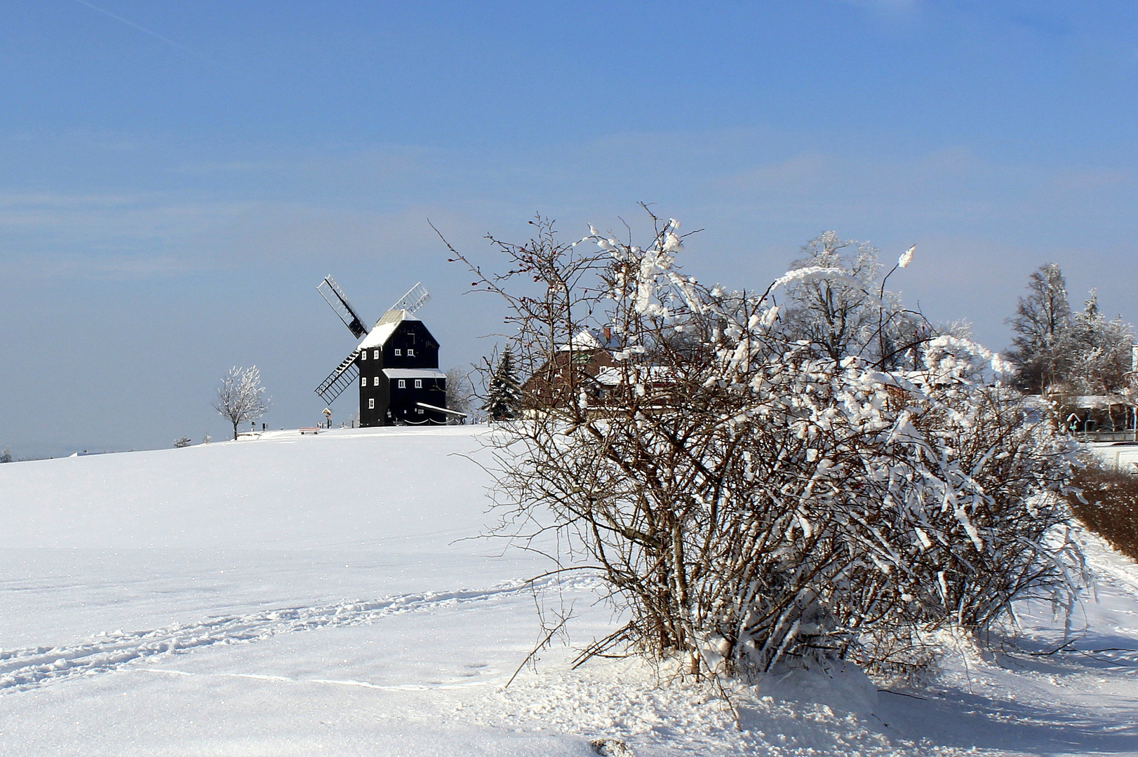 Winter an der Bockwindmühle in Kottmarsdorf