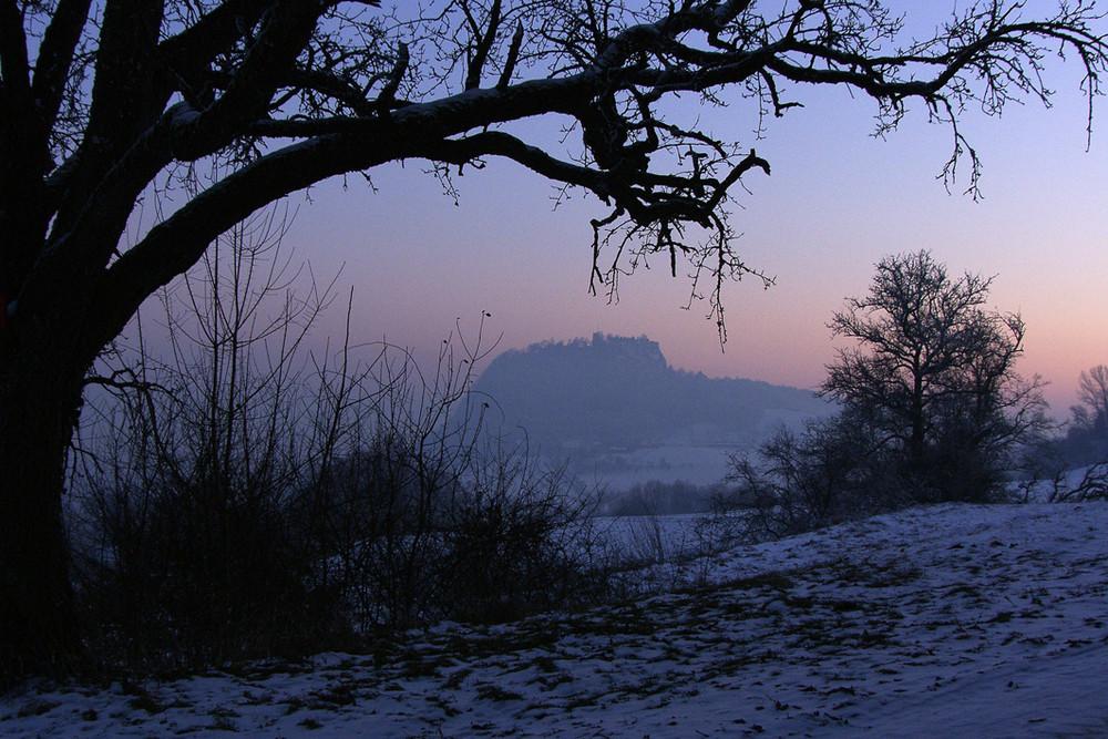 Winterabend am Hohentwiel