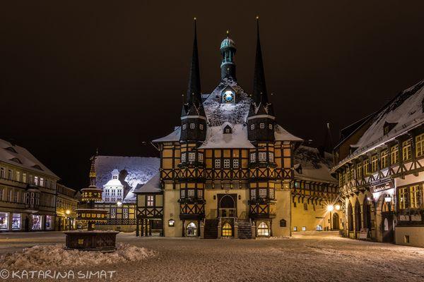 Winterabend am Rathaus