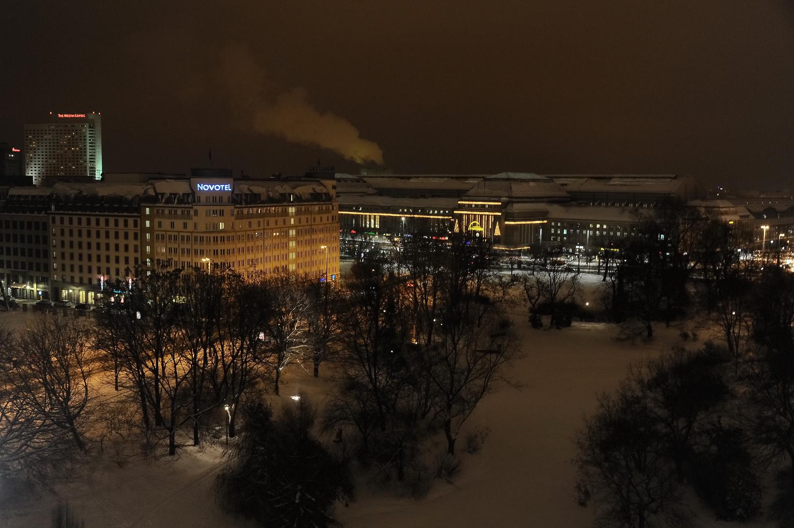 Winterabend am Schwanenteich