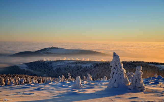 Winterabend auf dem Brocken