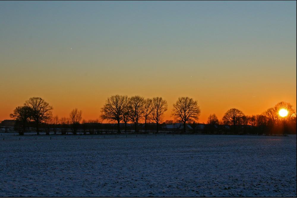 Winterabend auf dem Lande