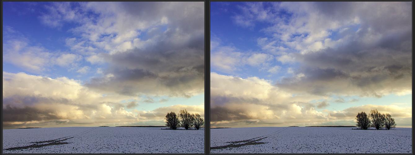 Winterabendlicht (3d - Kreuzblick)