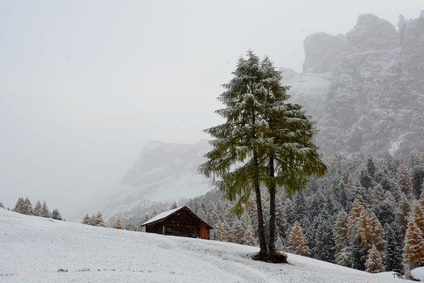 Wintereinbruch im Grödnertal