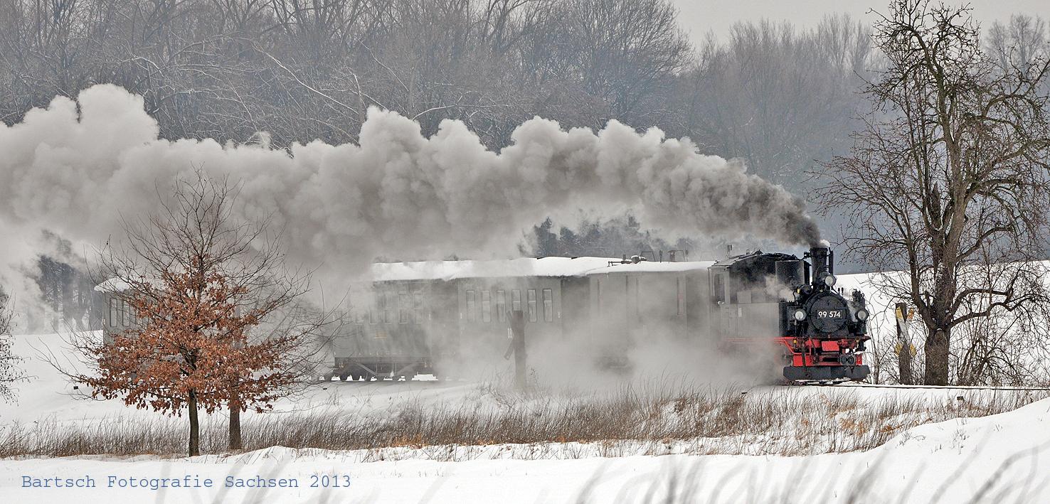 Winterfahrt der Döllnitzbahn mit dem Wilden Robert von Oschatz nach Mügeln im Februar 2013