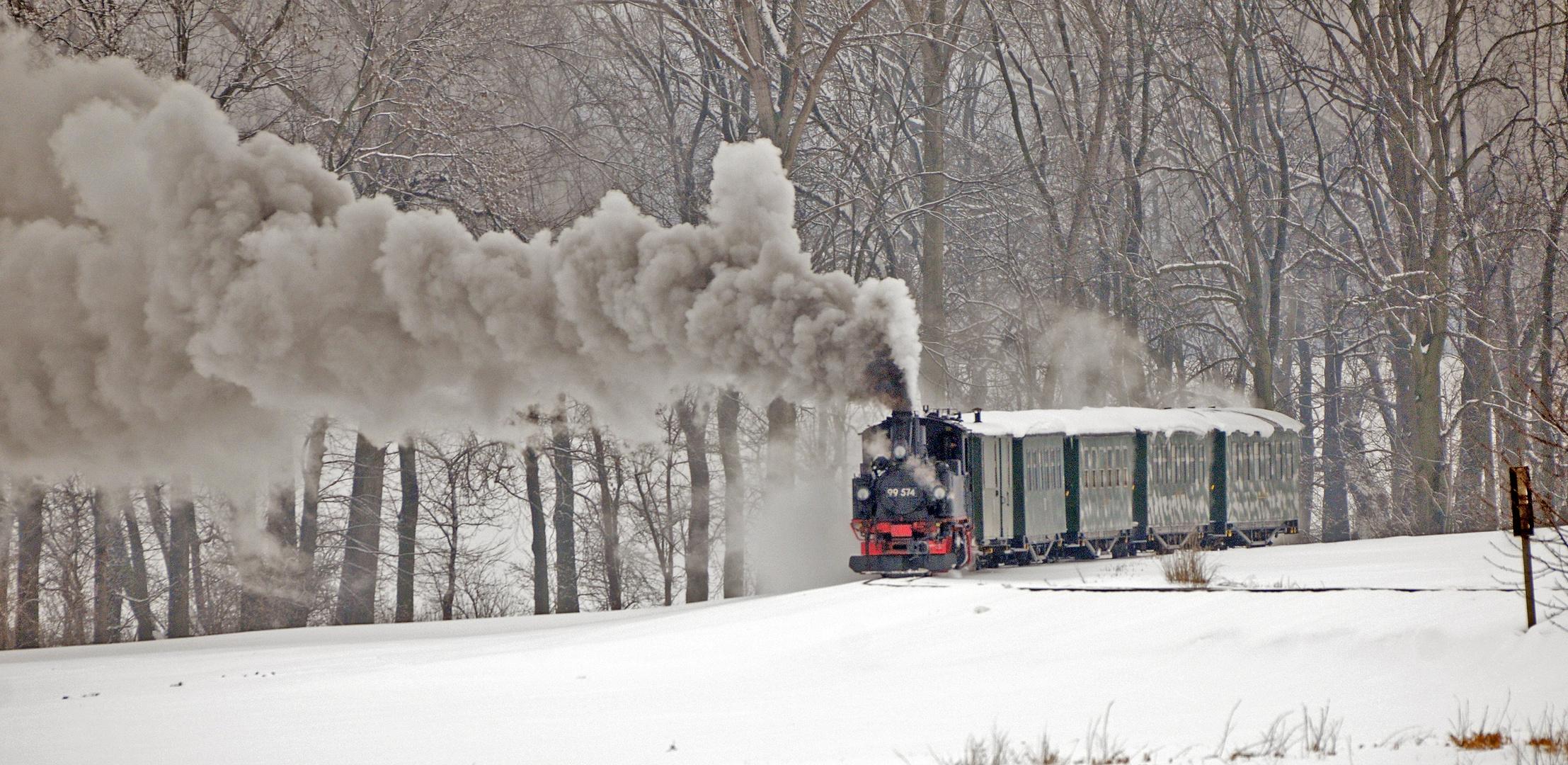 Winterfahrten der Döllnitzbahn mit dem Wilden Robert von Oschatz nach Mügeln im Februar 2013