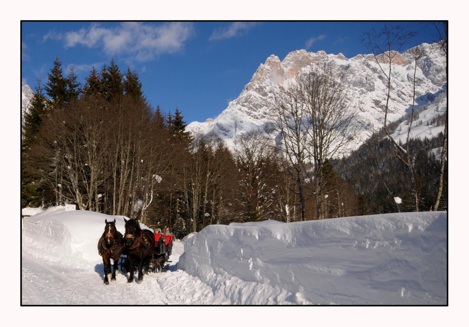 Winterfreuden pur - Pferdeschlittenfaht in Maria Alm - HIntertal