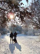 Winteridyll mit Familie, Hund und Schlitten