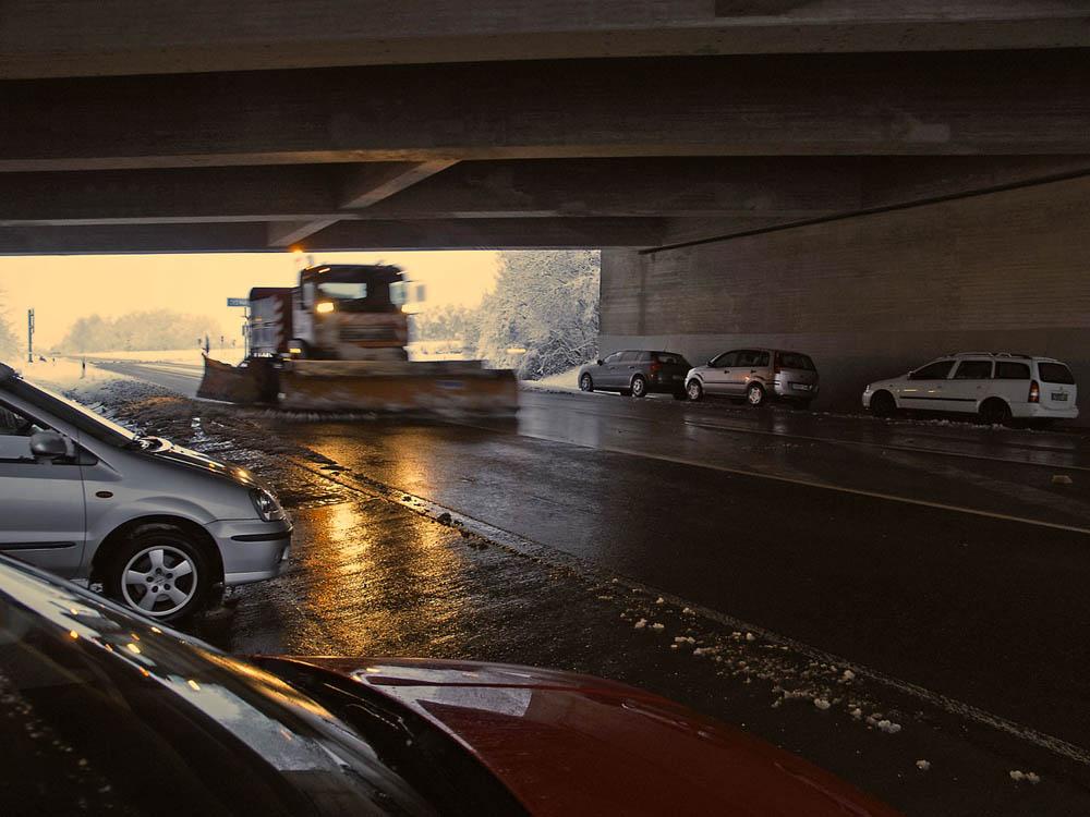 Winter_Idylle an der Autobahnauffahrt Boxberg morgens kurz nach halb sieben