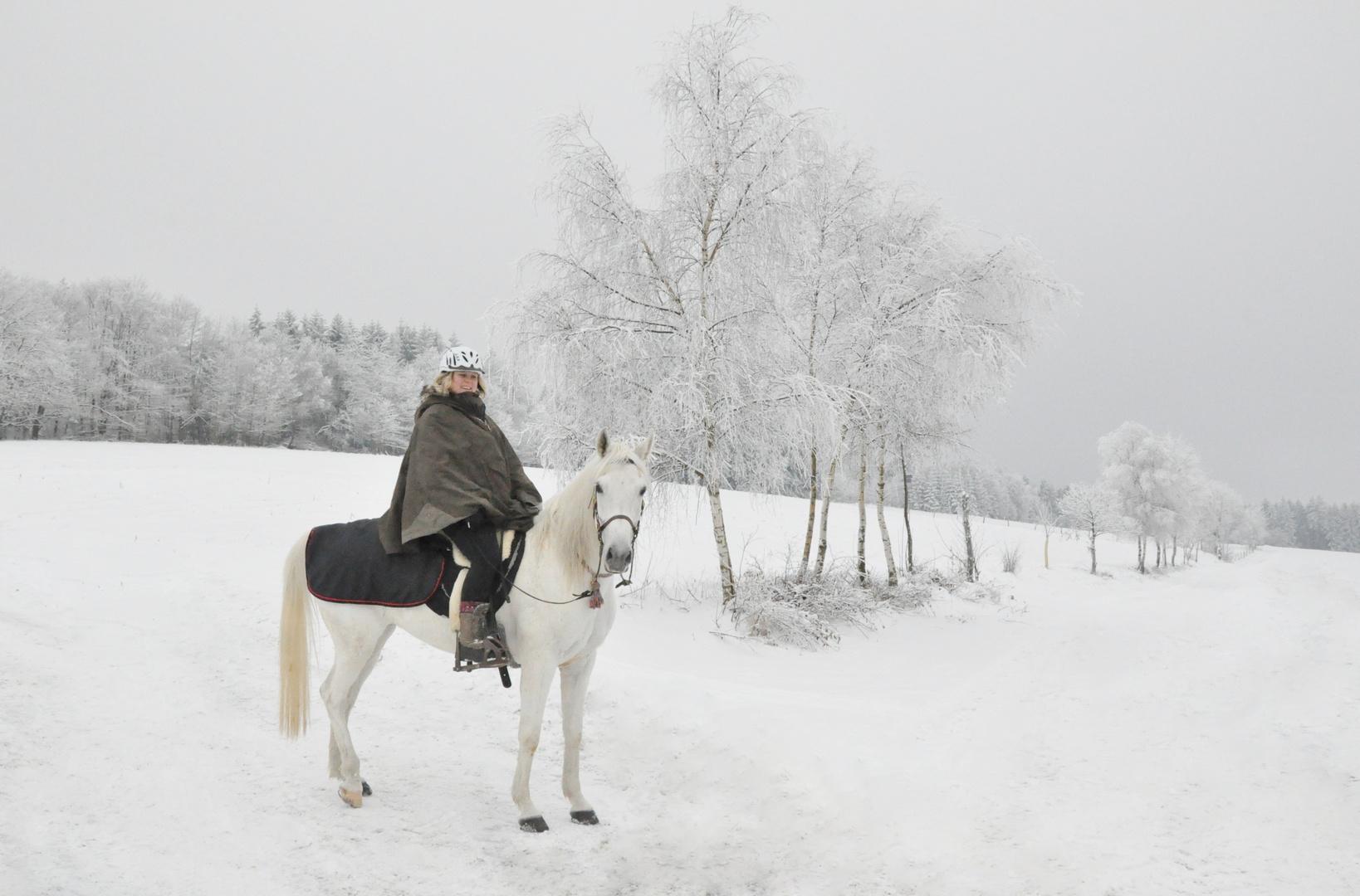 Winterlandschaft 02: Pferd & Reiterin
