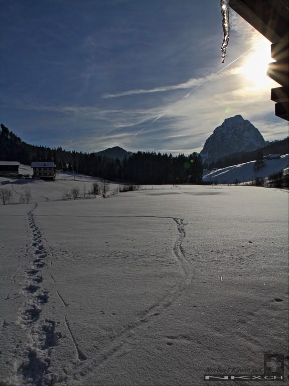 Winterlandschaft Alpthal Brunni mit grossem Mythen