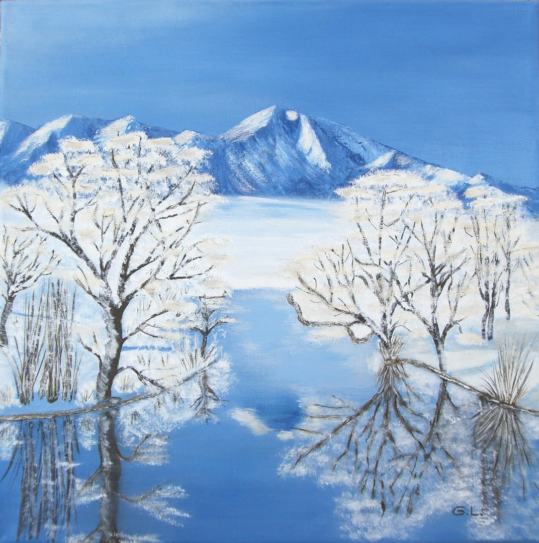 winterlandschaft gemalt in acryl foto bild. Black Bedroom Furniture Sets. Home Design Ideas