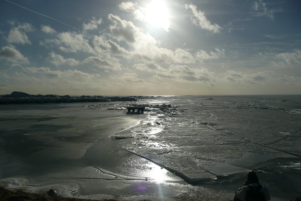 Winterlandschaft, Ijsselmeer, Niederlande