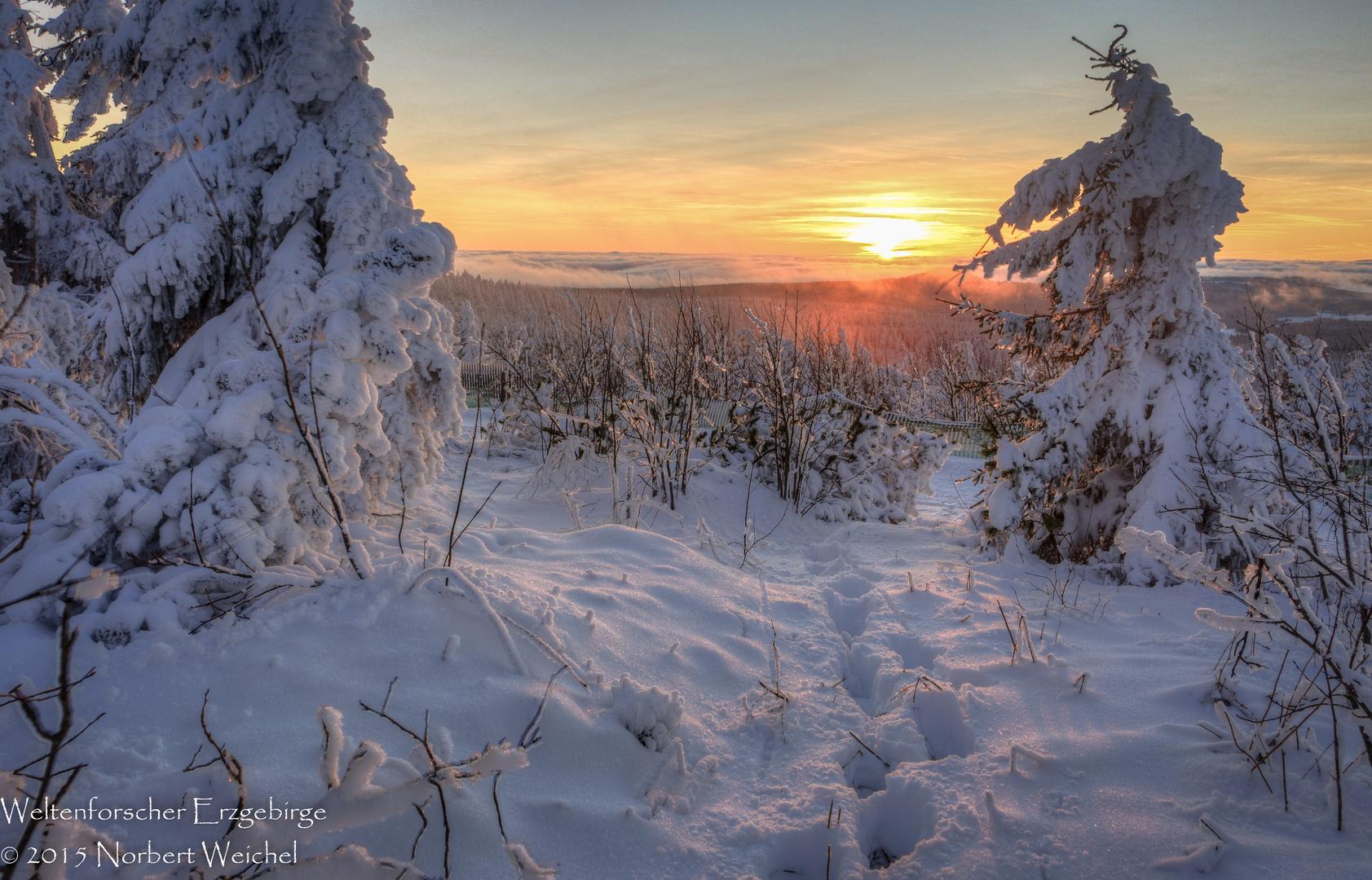 winterlandschaft mit sonnenuntergang auf dem fichtelberg foto bild jahreszeiten winter. Black Bedroom Furniture Sets. Home Design Ideas