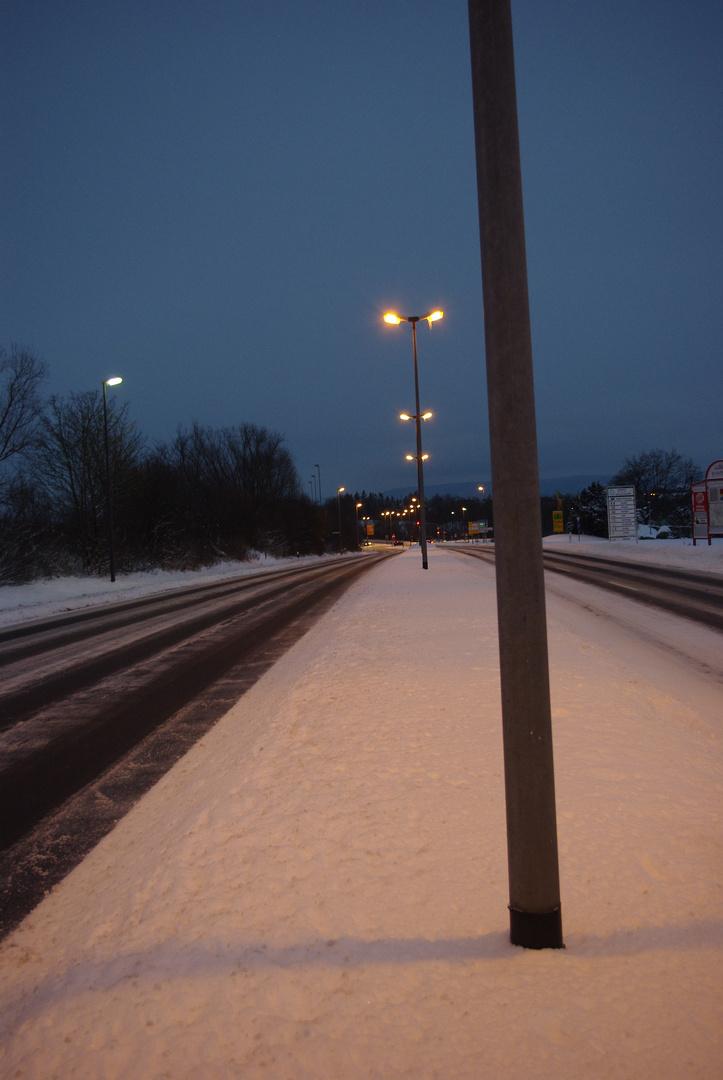 Winterliche Bundesstraße B22 bei Bamberg