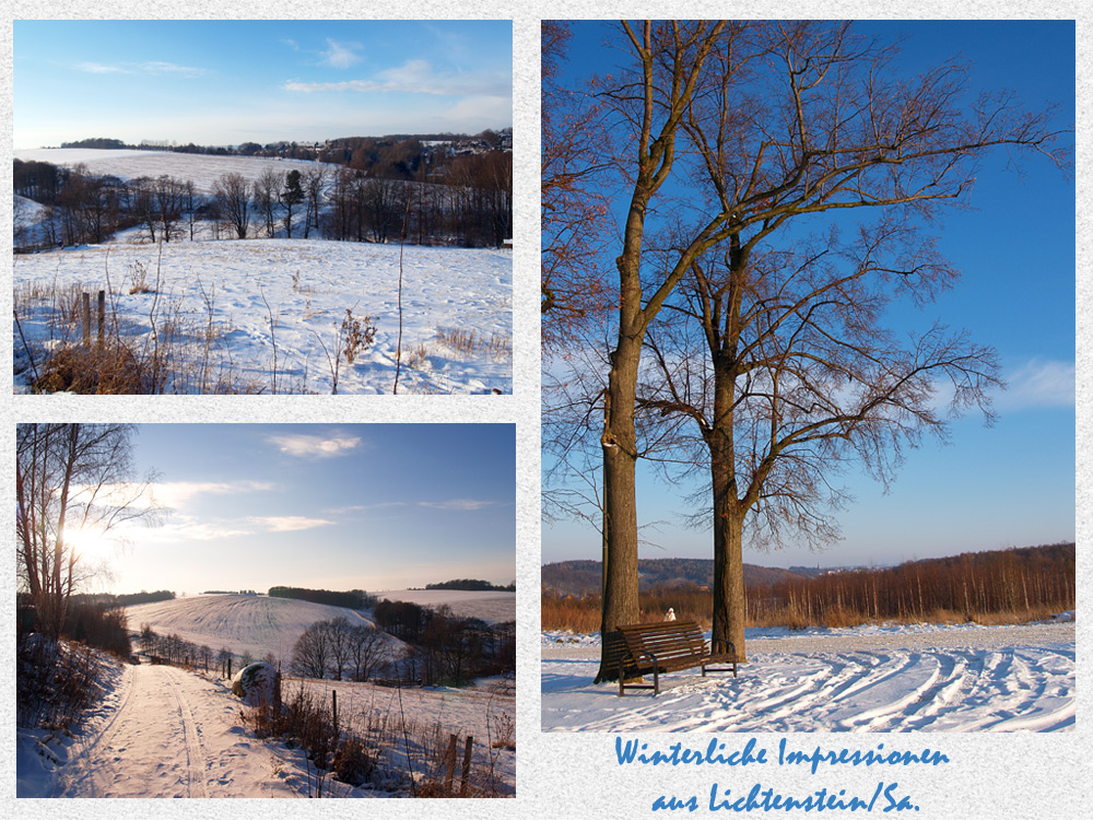 Winterliche gr e foto bild landschaft b nke in der landschaft z une b nke wegweiser - Winterliche bilder kostenlos ...