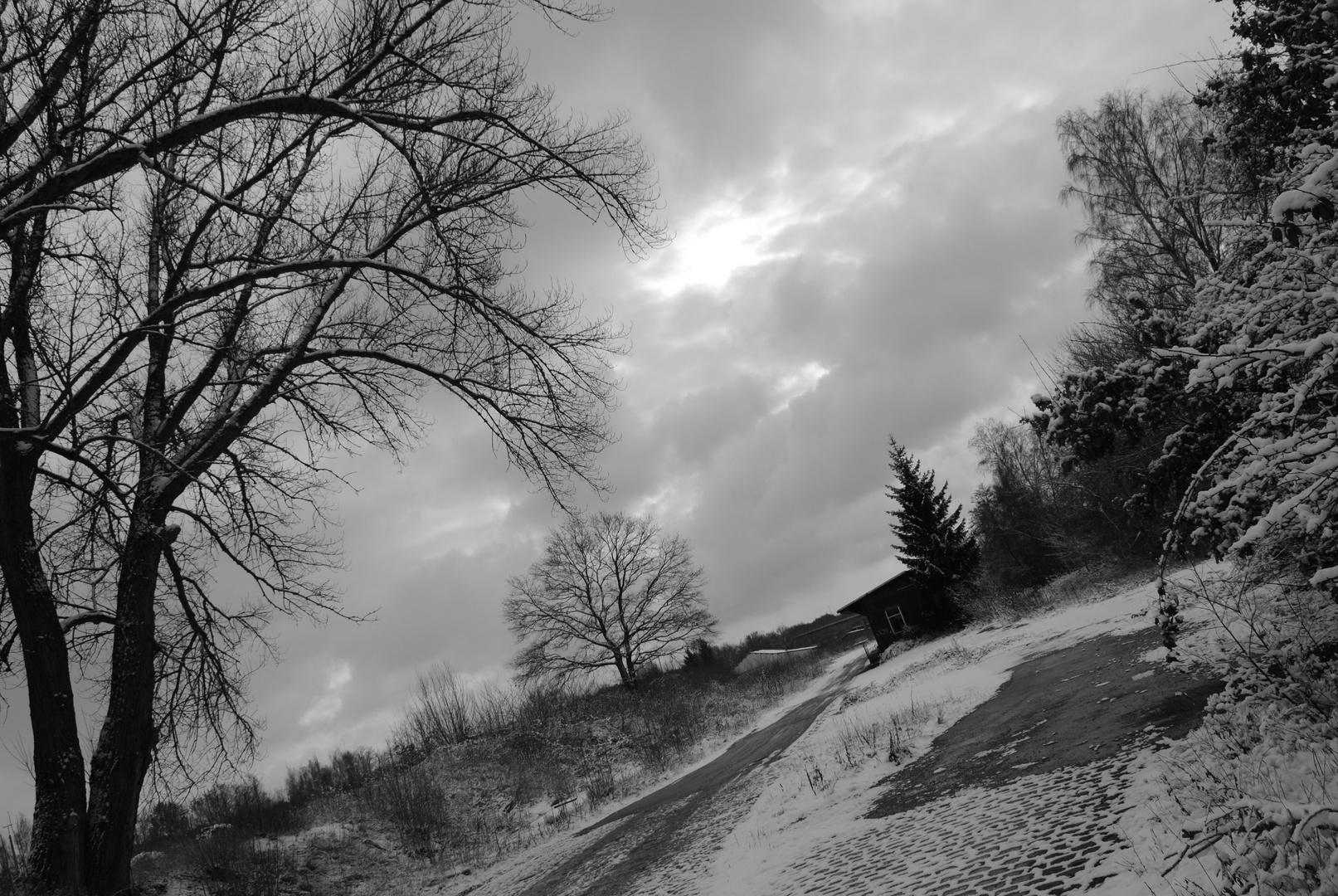 Winterliche Ladestraße